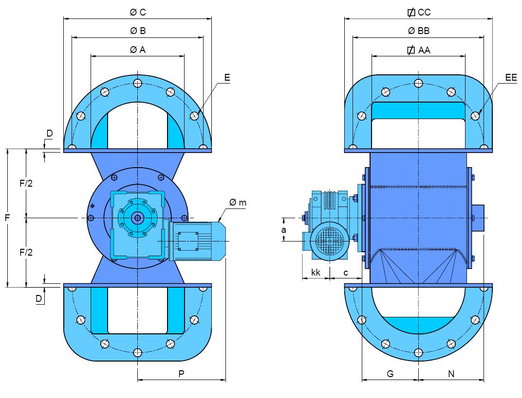 écluse rotative de dépoussiérage S-AX schéma version motorisée
