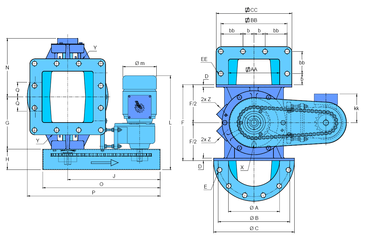 écluse H-AX schéma version motorisée