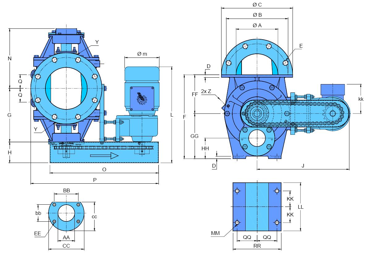 écluse H-GR schéma version motorisée